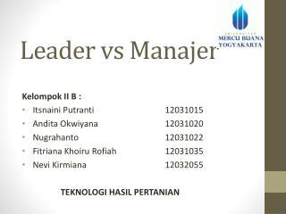 Leader vs Manajer