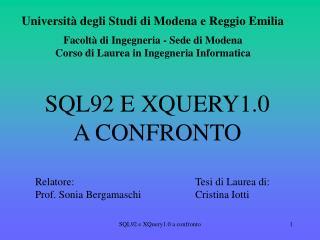 SQL92 E XQUERY1.0  A CONFRONTO