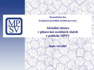 Konzultační den  krajských metodiků sociální prevence Aktuální situace