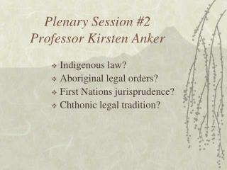 Plenary Session #2 Professor Kirsten Anker