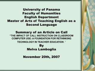 University of Panama Faculty of Humanities English Department