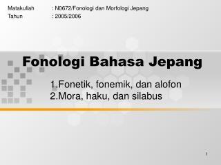 Fonologi Bahasa Jepang