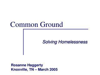 Solving Homelessness