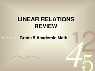 LINEAR RELATIONS  REVIEW