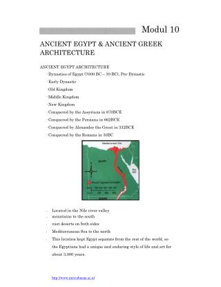 Modul 10 ANCIENT EGYPT & ANCIENT GREEK ARCHITECTURE ANCIENT EGYPT ARCHITECTURE