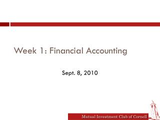 Week 1: Financial Accounting