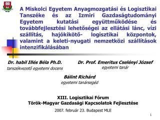 Dr. habil Illés Béla Ph.D. tanszékvezető egyetemi docens