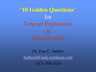 10 Golden Questions  for Concept Exploration  Development