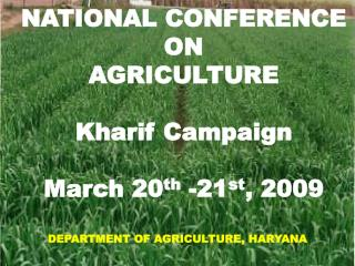 NATIONAL CONFERENCE  ON  AGRICULTURE Kharif Campaign March 20 th  -21 st , 2009