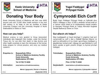Keele University School of Medicine Donating Your Body