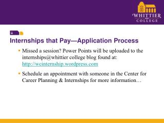 Internships that Pay�Application Process
