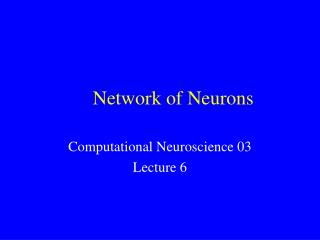 Network of Neurons