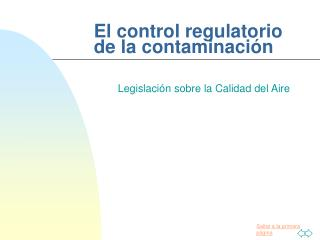 El control regulatorio de la contaminación