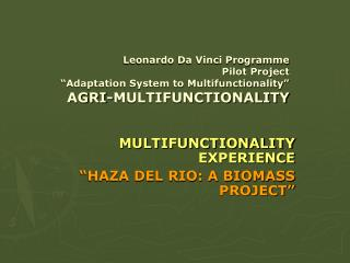 """MULTIFUNCTIONALITY EXPERIENCE """"HAZA DEL RIO: A BIOMASS PROJECT"""""""