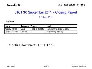 JTC1 SC September 2011  - Closing Report
