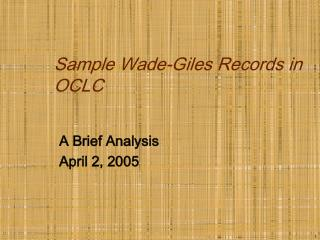 Sample Wade-Giles Records in OCLC