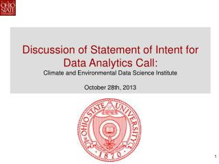 Discussion of Statement of Intent for Data Analytics Call: