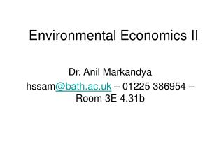 Environmental Economics II