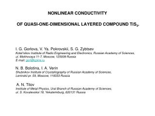 NONLINEAR CONDUCTIVITY  OF QUASI-ONE-DIMENSIONAL LAYERED COMPOUND TiS 3 .