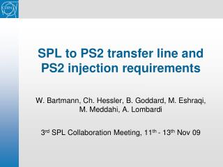 SPL to PS2 transfer line and PS2 injection requirements