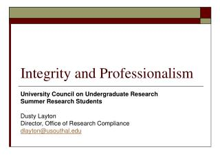 Integrity and Professionalism