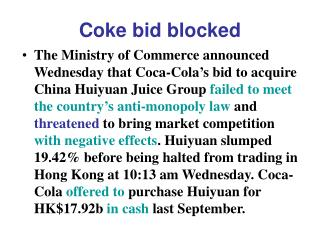 Coke bid blocked