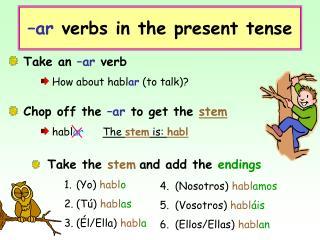 –ar  verbs in the present tense