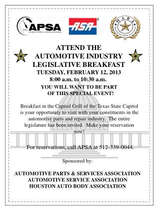 For reservations, call APSA at 512-339-0044.