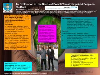 An Exploration of  the Needs of Somali Visually Impaired People in Sheffield