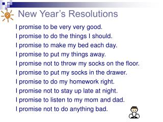 New Year�s Resolutions