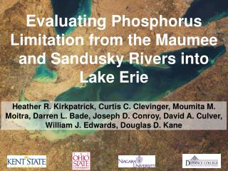 Evaluating  Phosphorus Limitation from the Maumee and Sandusky Rivers into Lake Erie
