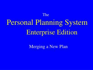 Personal Planning System