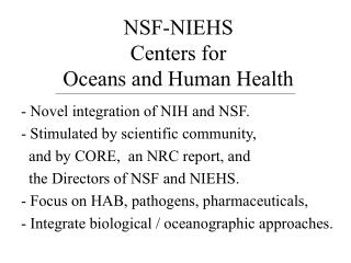 NSF-NIEHS  Centers for  Oceans and Human Health