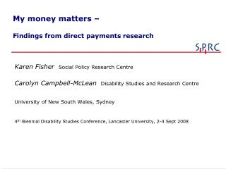 My money matters –     Findings from direct payments research