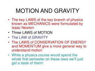 MOTION AND GRAVITY
