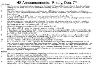 HS Announcements:  Friday, Dec. 7 th