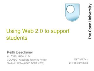 Using Web 2.0 to support students