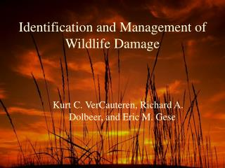 Identification and Management of Wildlife Damage