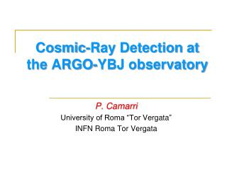 Cosmic-Ray Detection at the ARGO-YBJ observatory