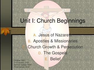 Unit I: Church Beginnings