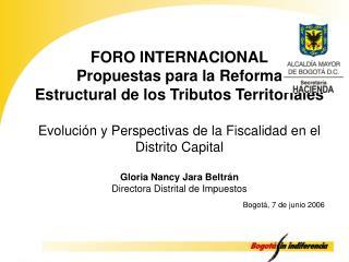 FORO INTERNACIONAL Propuestas para la Reforma Estructural de los Tributos Territoriales