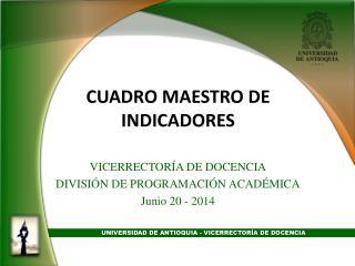 CUADRO MAESTRO DE INDICADORES