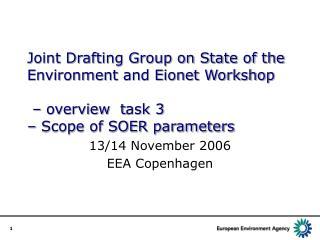 13/14 November 2006 EEA Copenhagen