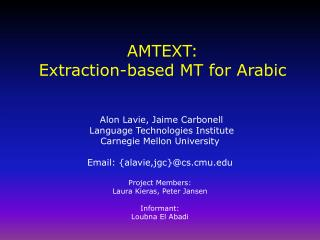 AMTEXT: Extraction-based MT for Arabic