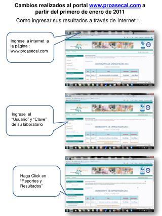 Como ingresar sus resultados a través de Internet :