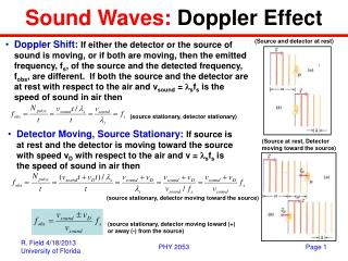 Sound Waves:  Doppler Effect