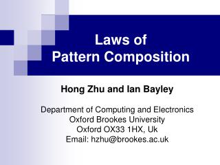 Laws of  Pattern Composition