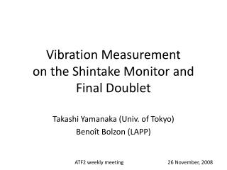 Vibration Measurement  on the Shintake Monitor and Final Doublet