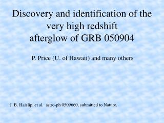 Discovery and identification of the very high redshift afterglow of GRB 050904