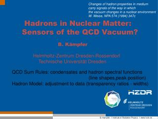 Hadrons in Nuclear Matter: Sensors of the QCD Vacuum?